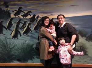 Since we couldn't take picture with the real penguins, we took with the mural.